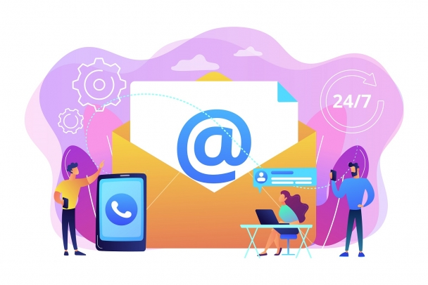 Email marketing, Internet chatting, 24 hours support. Get in touch, initiate contact, contact us, feedback online form, talk to customers